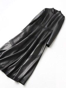 Image 3 - Ayunsue本革ジャケット秋のジャケットの女性シープスキンのコート女性ストリートロングトレンチコートヴィンテージウインドブレーカーMY4357