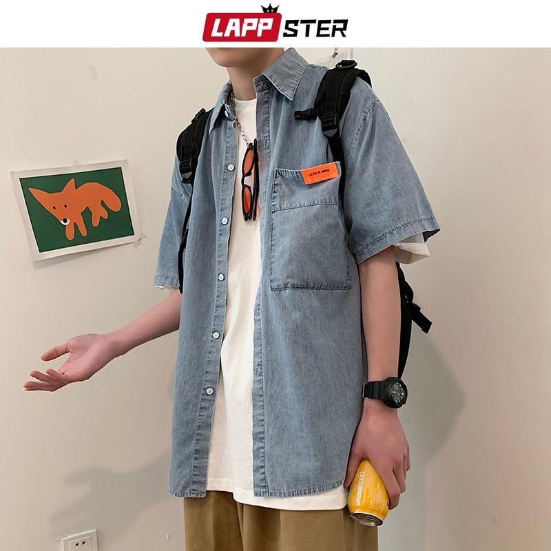 LAPPSTER Men Japanese Streetwear Denim Shirt 2020 Vintage Korean Clothes Jeans Shirts Male Vintage Oversized Blouses Plus Size