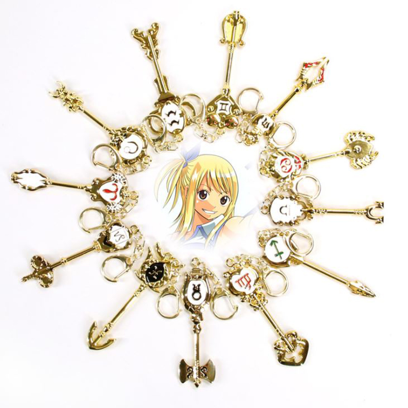 1/1 Cartoon Anime Fairy Tail Zodiac Star Spirit Magician Summons Key Twelve Constellation Keychain Cosplay Gift