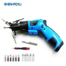 6 In1 Mini 6V akumulator bezprzewodowy wkrętak elektryczny obrotowy śrubokręt z światło robocze i 14 bitów do konserwacji gospodarstwa domowego