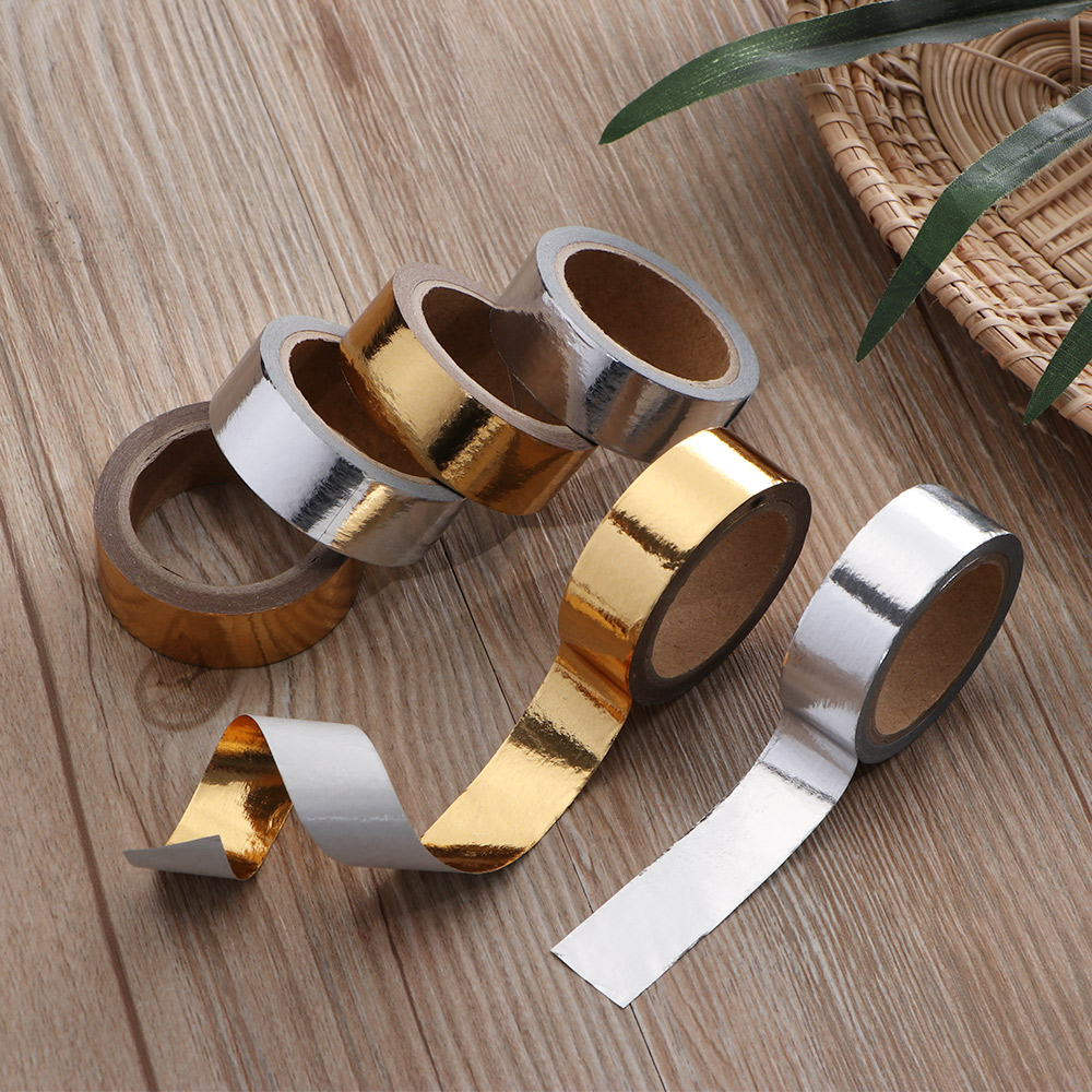 Stamping Tape Gold And Silver Colour DIY Scrapbooking Adhesive Tape Stationery Festival Diary Decorative Tape DIY Solid Color