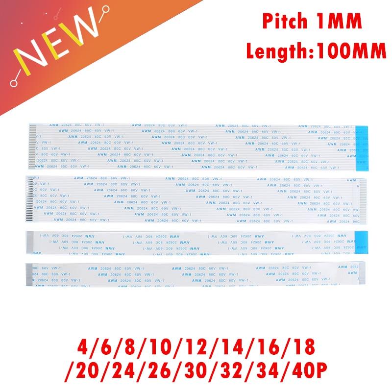 10PCS FPC Ribbon Flexible Flat CABLE PITCH 1MM 100MM 4P 6P 8P 10P 12P 16P 20P 30P 40P FFC WIRE 6/10/12/16/20/30/40 Pin