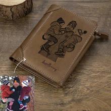 Carteira com gravura personalizada para fotos, carteira de couro multi-cartão, três dobras, vertical, fivela de seção fina para o dia dos pais presente
