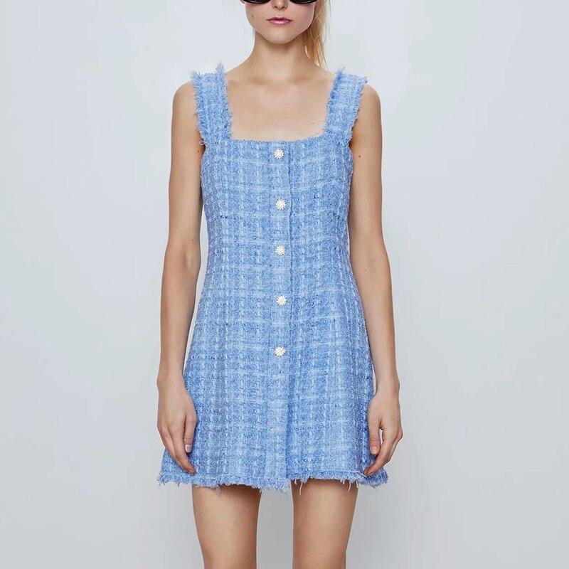ZXQJ элегантное женское твидовое платье от солнца 2020 летнее модное женское винтажное платье на пуговицах с драгоценными камнями Женское облегающее платье миди для девочек|Платья|   | АлиЭкспресс - Трендовые вещи из сериала «Эмили в Париже»