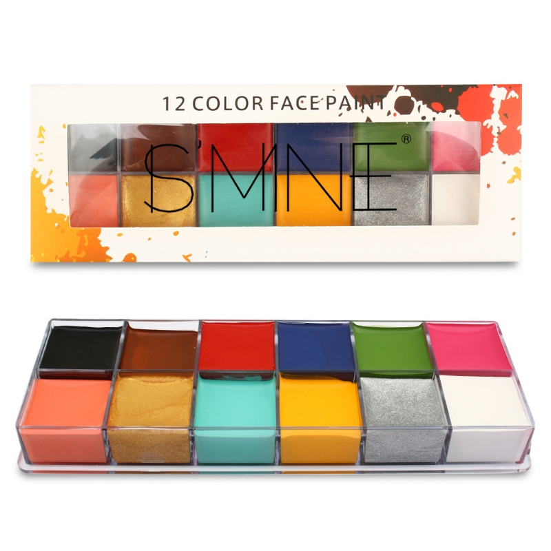 12 Colors Face Body Painting Art Non Toxic Safe Oil Paint Halloween Party Fancy P0RC