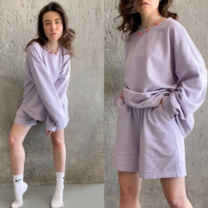 Womens Tracksuits 2 Piece Set Summmer Autumn Oversize Sweatshirt + Sporting Shorts Sweat Set Two Piece Outfit Solid Color Sets(China)