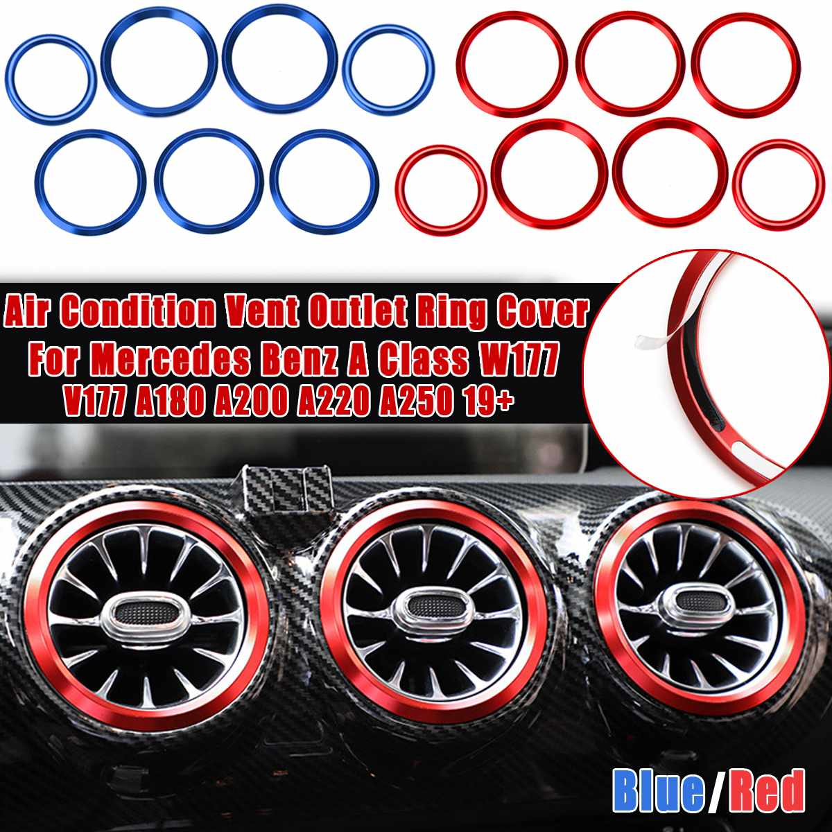 7pcs Car Air Condition Vent Outlet Ring Cover Trim For Mercedes for BENZ A Class W177 V177 A180 <font><b>A200</b></font> A220 A250 <font><b>2019</b></font>+ Red Blue image