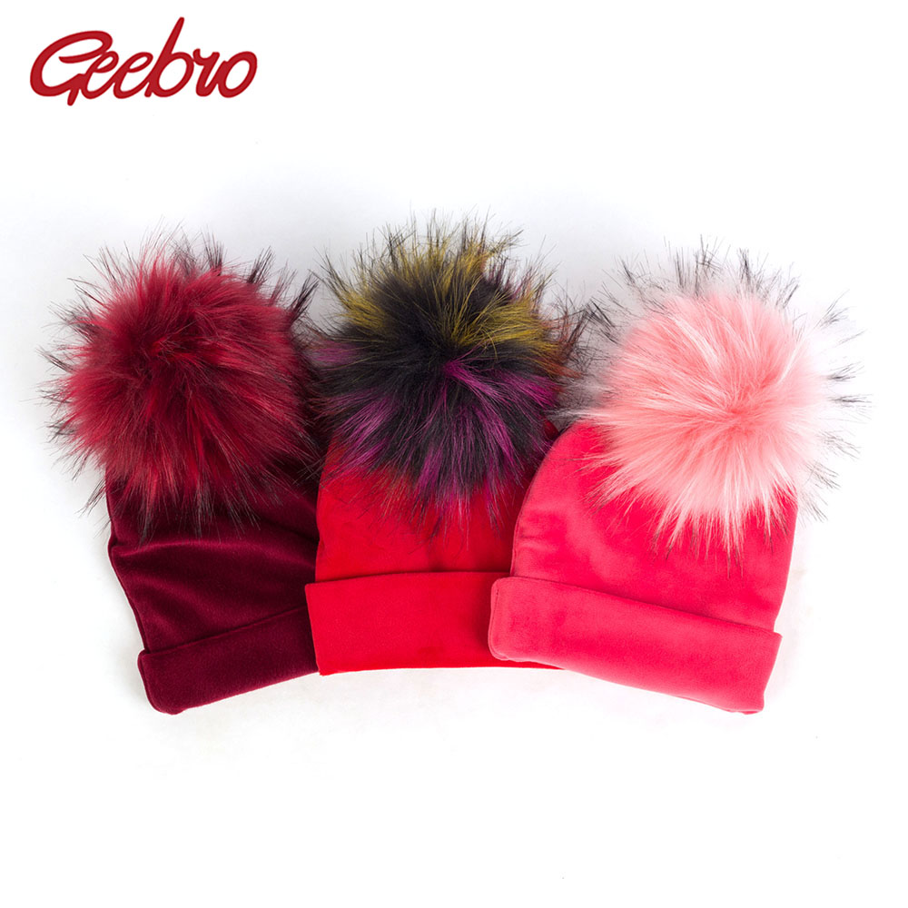 Geebro Newborn Baby Velvet Soft Thicken Beanies With Pom Pom Faux Fur Hairball Toddler Winter Warm Ear Hats Solid Color DK944