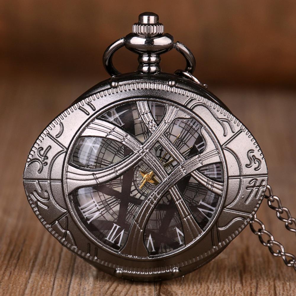 Luxury Vintage Hollow Quartz Pocket Watch Fashion Roman Numerals Design Men Women Best Gifts With Chain