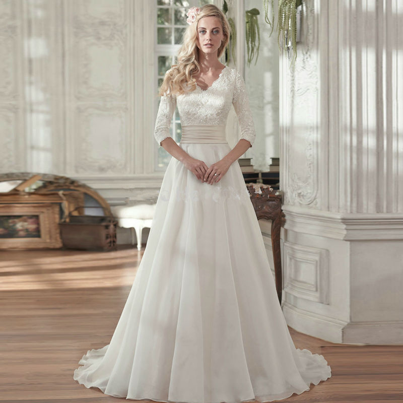 Elegant Half Sleeves V Neck Bridal Wedding Gowns 2016 A Line Chiffon Wedding Dress With Lace Appliques Vestido De Noiva