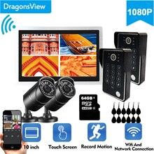 Dragonsview 10 inç kablosuz Video interkom Wifi görüntülü kapı telefonu kapı zili 1080P dokunmatik ekran kayıt şifre kilidini