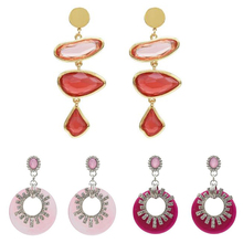 Charm Boho Style Double Round Acrylic Hoop Earrings Exquisited Rhinestone Women Jewelry Accessories Hot Sales
