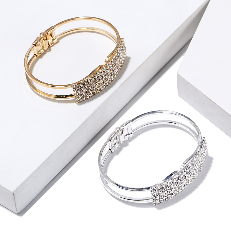 Fashion Ladies Plated with Rhinestones Charm Wide Cuff Open Bracelets Bangles