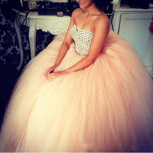 Ball Gowns Quinceanera Dresses For Sweet Sixteen Teenagers Young Girls Formal Dance Gowns Cheap Beaded Tulle Fabric(China)
