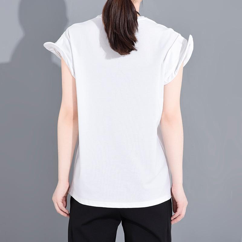 [EAM] Women Black Shaped Split Jooint Big Size T-shirt New Round Neck Short Sleeve Fashion Tide  Spring Summer 2020 1S68301 5