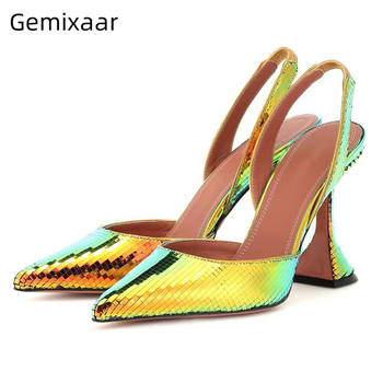 Unique Bling Metal Color Sandals Women Slip On Point Toe Slim Shallow Sexy Sandalias High Gladiator Heel Cool Women Sandals 43