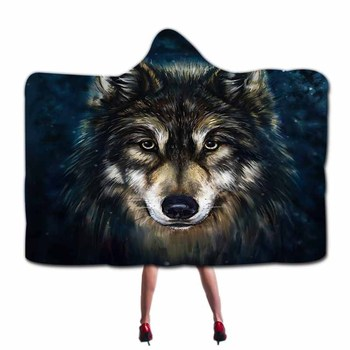 Animals Black Lion And Wolf Hooded Blanket  2