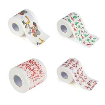 QIAOYAN Christmas Pattern Printing Roll Toilet Paper Household Tissue Bathroom Web - DISCOUNT ITEM  31% OFF Beauty & Health