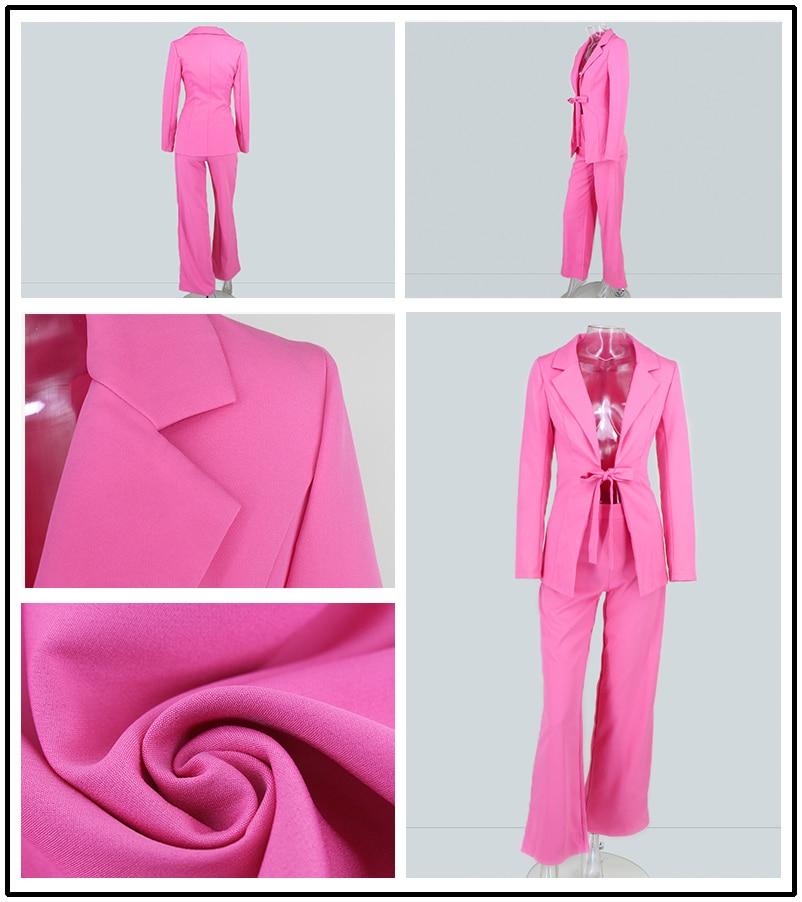 PFFLOOK Work Ol Suit Female Blazer And Pants Suit Set Female Coat V Neck Sexy Chic Suit Women Office Set 2 Pieces Outfits Female 20