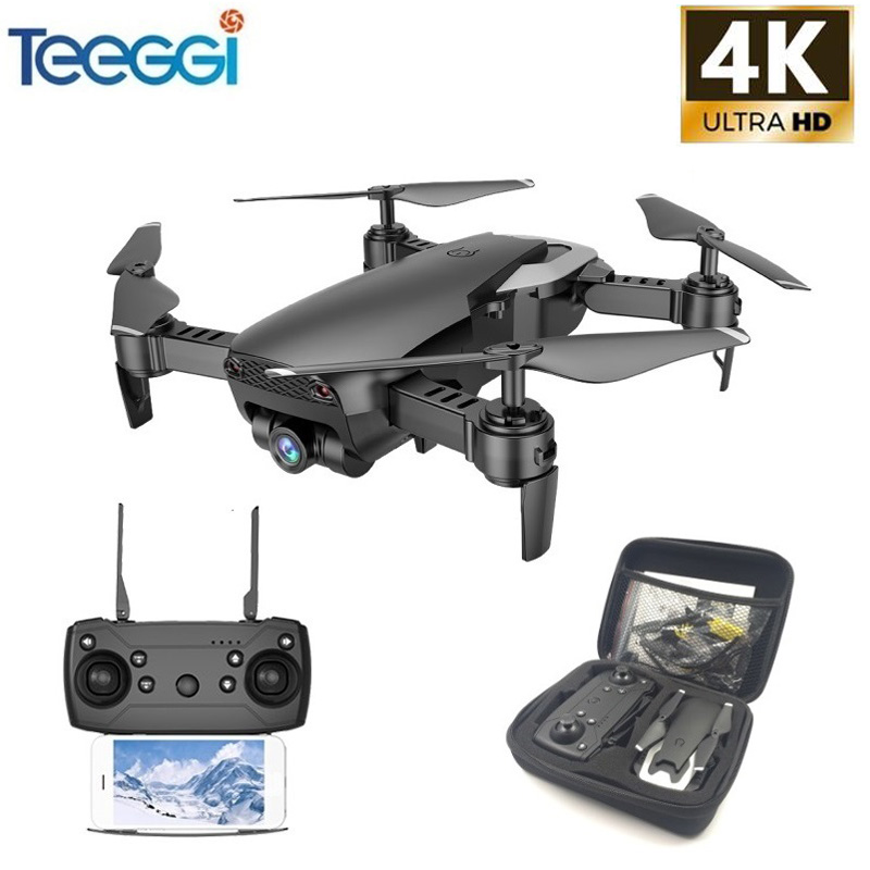 Teeggi M69 FPV Drone 4K with 1080P Wide-angle WiFi Camera HD Foldable RC Mini Quadcopter Helicopter VS VISUO XS809HW E58 X12(China)
