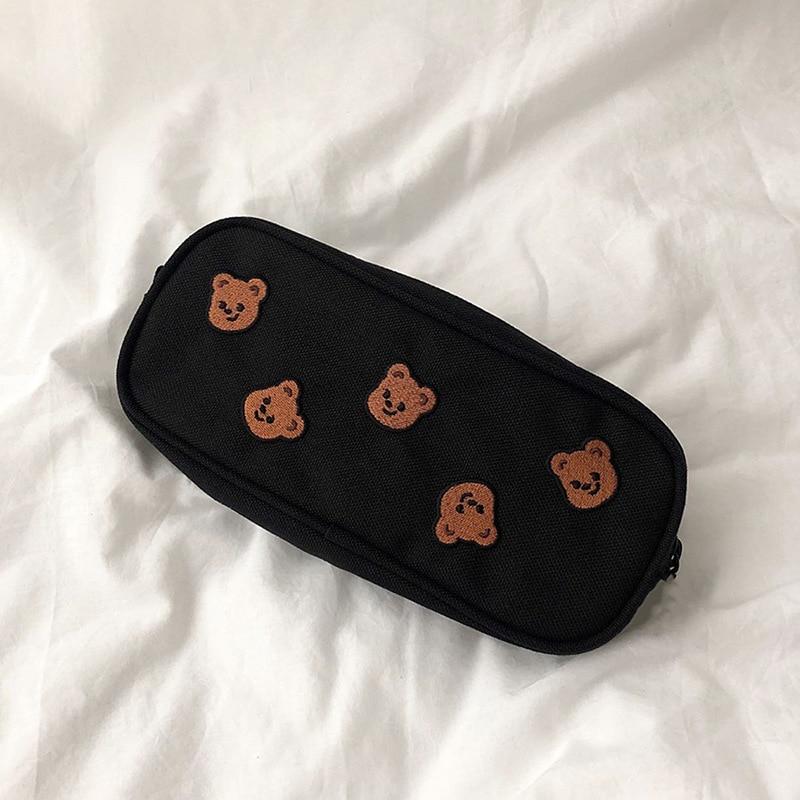 Kawaii Cartoon Bear Embroidery Pencil Bag Student Large Capacity Handbag Cosmetic Storage Bag Korean Stationery School Supplies