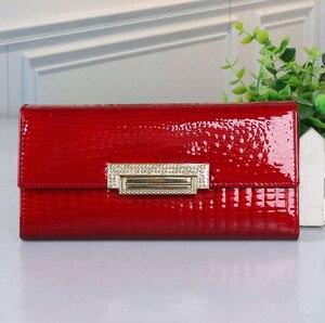 Image 3 - genuine leather wallet women long ladies leather wallets  2020 new woman purse diamond womens leather wallets