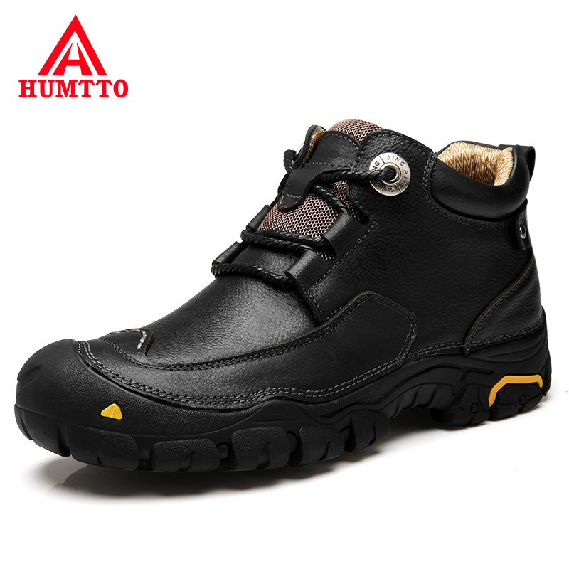 Promo New Arrival Winter Warm Cow Genuine Leather Shoes Men Lace-up Luxury Brand Design Outdoor Black Casual Mens Shoes Big Size 38-46