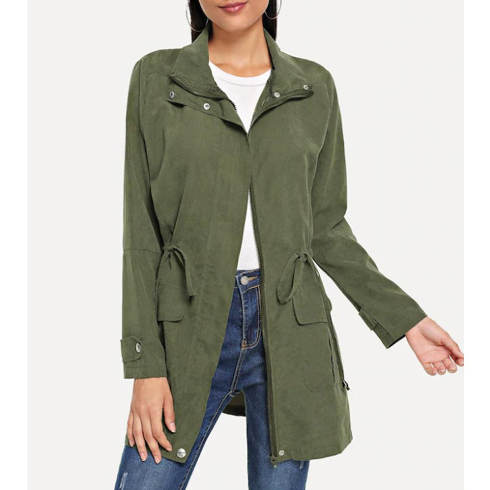 Women Autumn Fashion Army Green Casual Loose Slim Windbreaker Overcoats Femme Long Sleeve Elastic Waist Belt Trench Outwear Coat