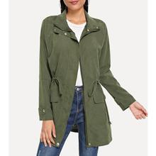 Women Autumn Fashion Army Green Casual Loose Slim Windbreaker Overcoats Femme Long Sleeve Elastic Wa