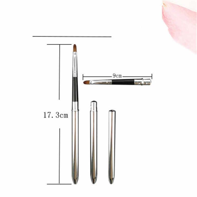 1 pc dobrável prata lábios pincel de maquiagem caneta metal lidar com cosméticos lipsgloss batom labial gloss escovas com proteger ferramentas de tampão