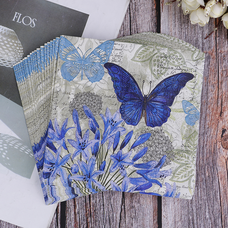 20PCS Napkins Paper Decoupage Tissue Purple Flowers Butterfly Wedding Birthday Decorative BIodegradable