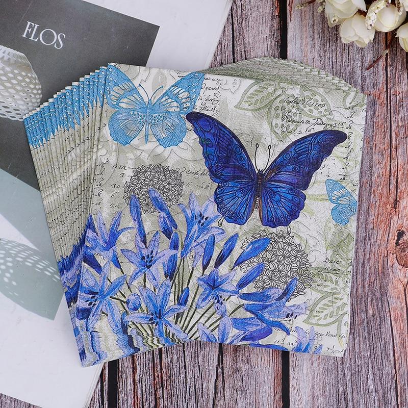 20PCS Napkins Paper Decoupage Tissue Purple Flowers Butterfly Wedding Birthday Decorative BIodegradable
