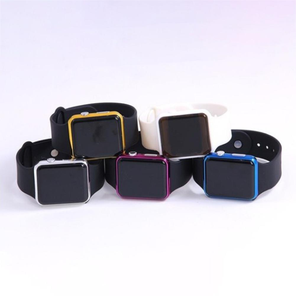Children Digital Watch Fashion Square Mirror Surface Silicone Band LED Sport Wristwatch