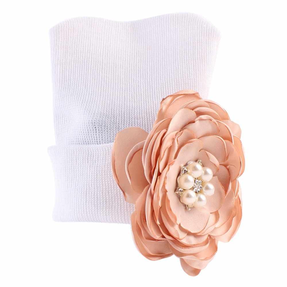 Floral Head Wrap Cap Solid Cotton Cap Casual Fashion Soft Warm Newborn Fashion Hat Newborn Baby Hats With Flower Pearl Hats