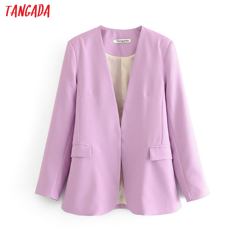Tangada Women Vintage Purple Blazer 2020 Female Long Sleeve Elegant Jacket Ladies Work Wear Blazer Formal Suits 6A56