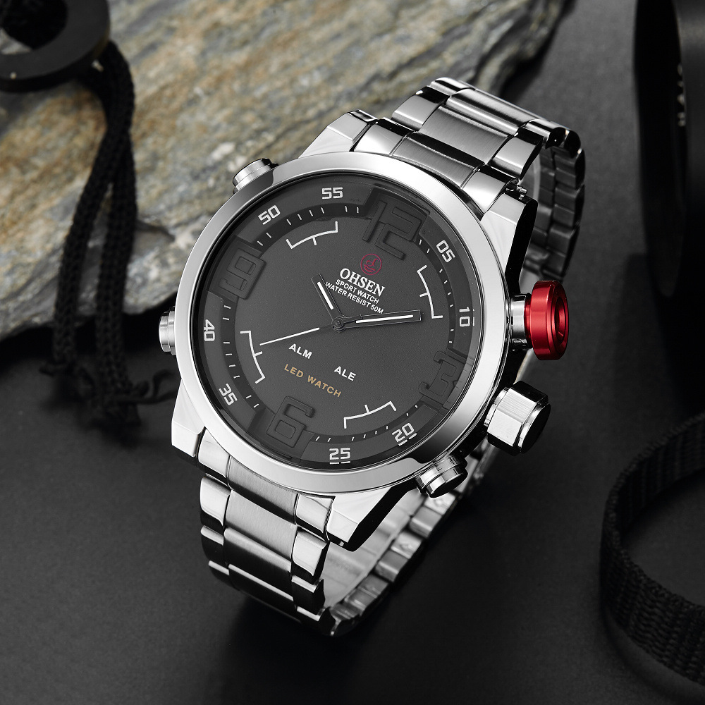 Oshen Multi Function Fashion Classic Men's And Women's Outdoor Sports Round Big Plate Alloy Shell Steel Band Quartz Watch