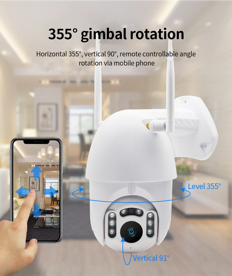 H15a2ad81b96543619b0e73bf50fc2653X Q1 Outdoor PTZ Wireless IP Camera Move Detection Infrared Night Vision Waterproof Surveillance RJ45/Wifi Dome CCTV Camera