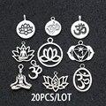 20 шт античные посеребренные Подвески для йоги, кулон для изготовления ювелирных изделий, ожерелье, серьги, браслет, сделай сам, фурнитура дл...