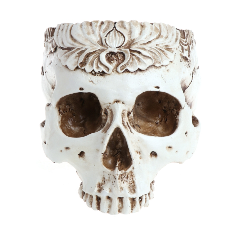 Resin Gothic Skull Head Flower Pot Planter Container Home Bar Ornament Decor AXYF
