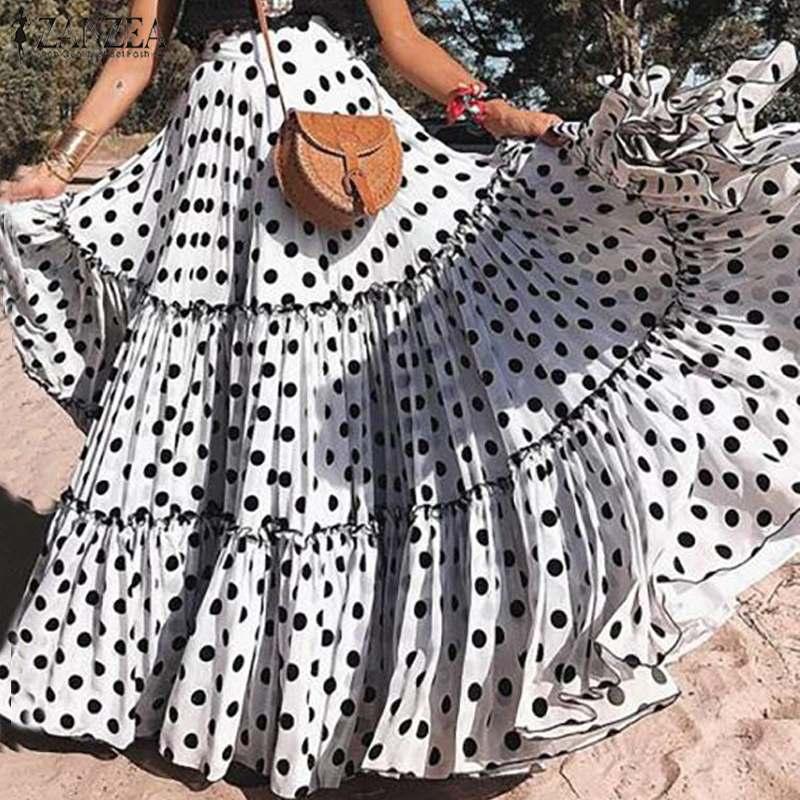 ZANZEA размера плюс, Женская юбка, повседневная, большая, свободная, длинная, макси, юбки, элегантные, для девушек, в горошек, с принтом, Jupe Femme, богемная, женская, s, юбка Юбки      АлиЭкспресс