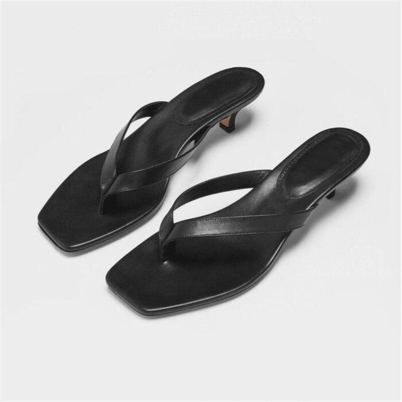 Cuir carré orteil été pantoufles femmes concepteur femelle chaton talons tongs en plein air fête 2019 mode femme diapositives chaussures