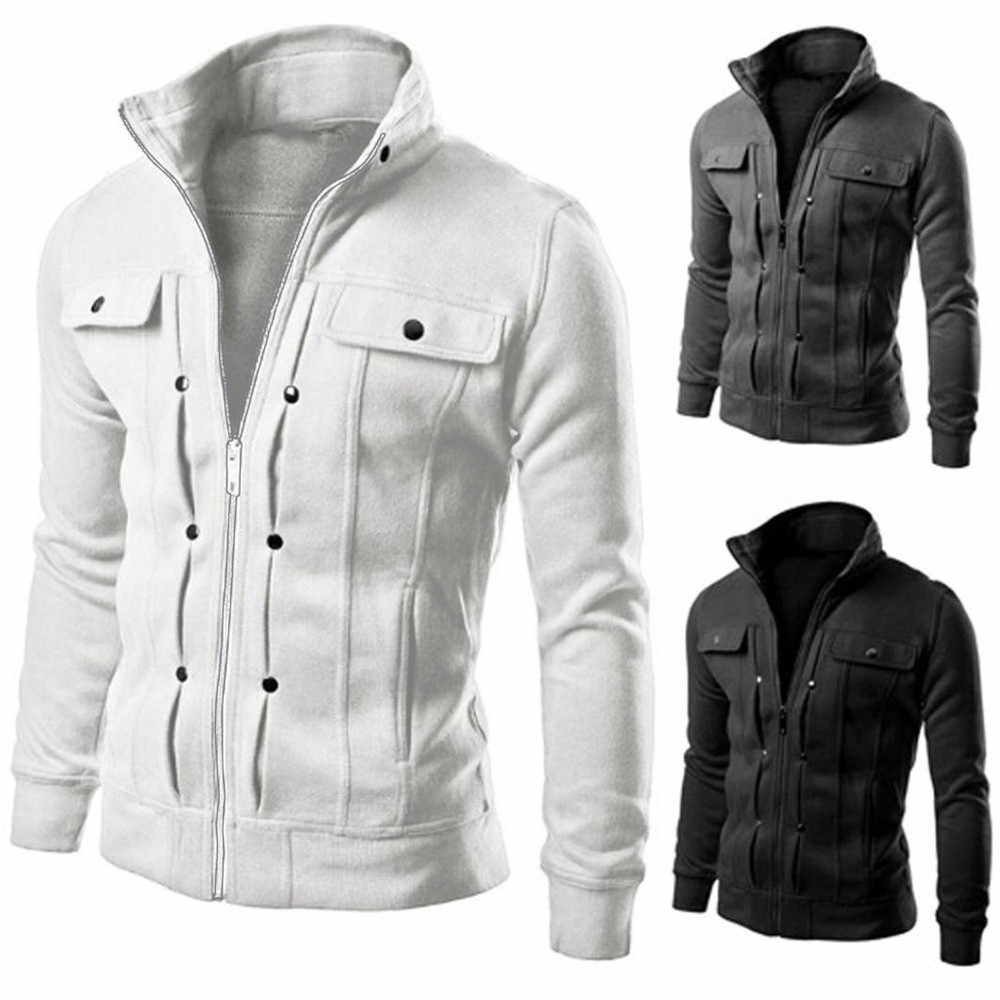 Slim Solid Mens Jackets Lapel Zipper Sportswear Outwear Spring Autumn Windbreaker Coat Plus Size Overcoat 3XL