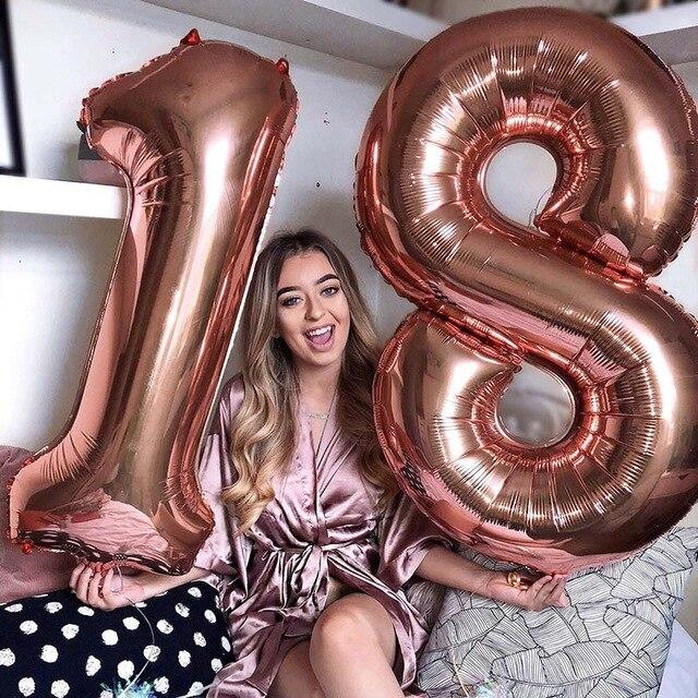 32/40 дюймов номер 18 шар цвета: золотистый, серебристый синий розовый цвет цифр Фольга воздушные шары для мальчиков и девочек 18th день рождения ...
