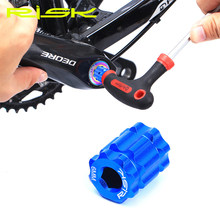 Risco rl302 bicicleta ferramenta removedor de manivela 1 peça liga alumínio tensionamento parafuso integrado braço manivela tampa instalação