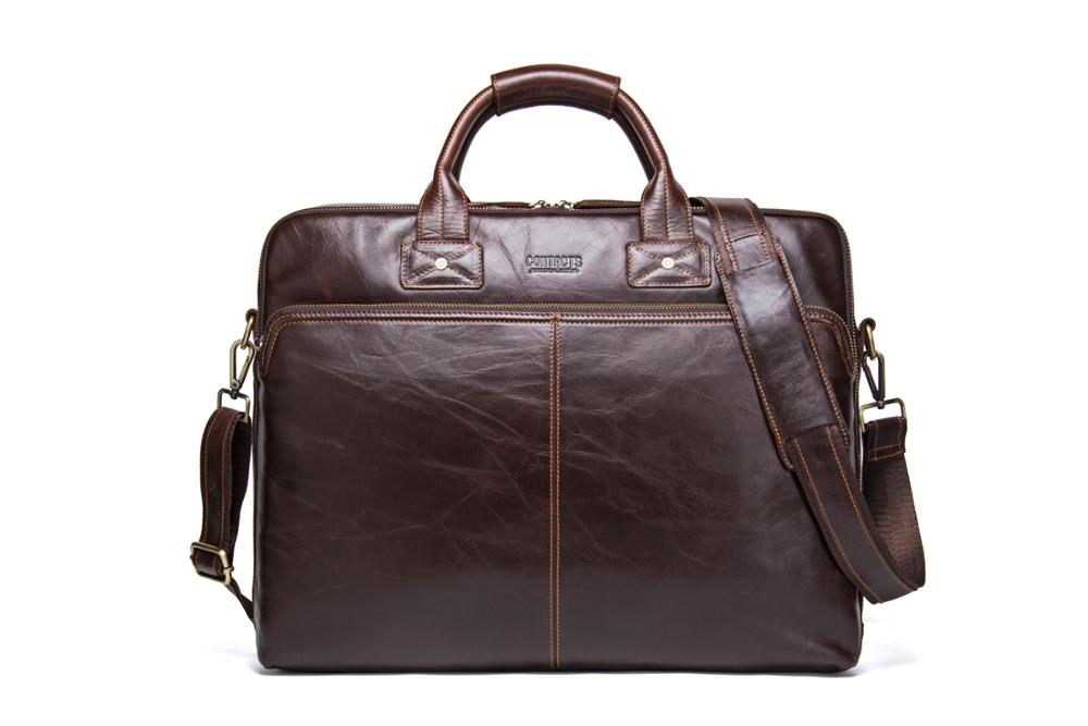 Men's Handbag Office Bag Leather Retro Can Hold 15.6 Inch Notebook Computer Business Briefcase Solid Bag