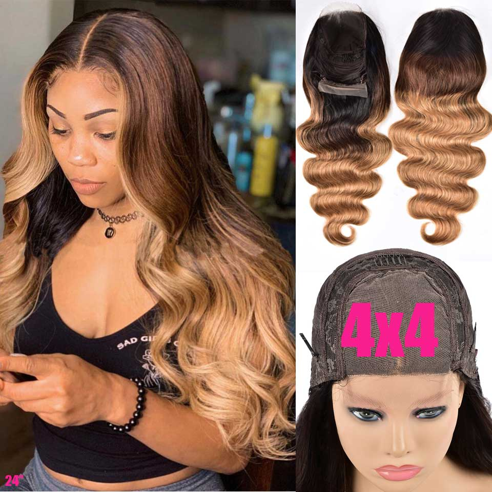 4x4 Ombre Brazilian Body Wave Closure Wig 150 Lace Front Human Hair Wigs Remy 13x4 Lace Frontal Wig 1B/4/27 Ombre Human Hair Wig