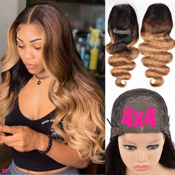 4x4 Ombre Brazilian Body Wave Closure Wig 150% Wavy Lace Front Human Hair Wigs Remy 13x4 Lace Frontal Wig Ombre Human Hair Wig 13x4 hd lace front human hair wigs deep wave wig transparent 4x4 lace closure wig remy indian lace frontal wig low ratio 150%