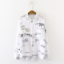 Women High Quality Cotton Blouse Shirts Long Sleeve Letters Print Autumn Casual