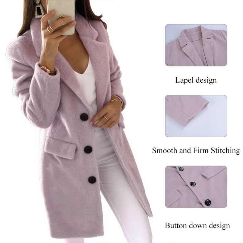 2019 femmes chaudes longue mélange manteaux printemps automne mince coupe ajustée revers longue veste dames Mujer polaire couleur unie Casaco Feminino