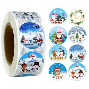 500 Этикетки С Рождеством наклейки круглые Holidays наклейки на Рождество поздравительные открытки спасибо запечатывания подарок декоративные ...